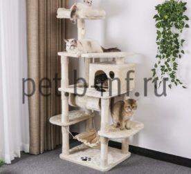 Домик когтеточка Комфорт-Средний+гамак бежевый для кошек купить 2